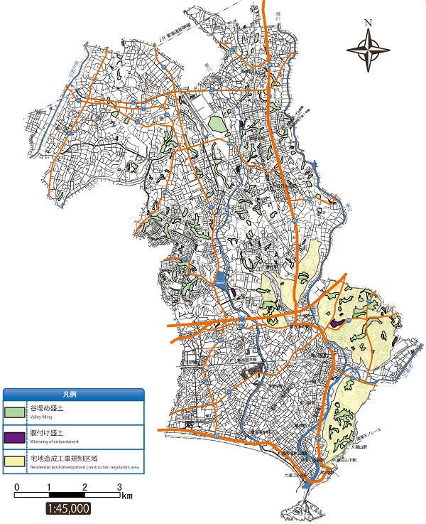 藤沢市の大規模盛土造成地マップ