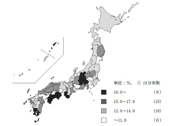 都道府県別 空き家率(平成30年)