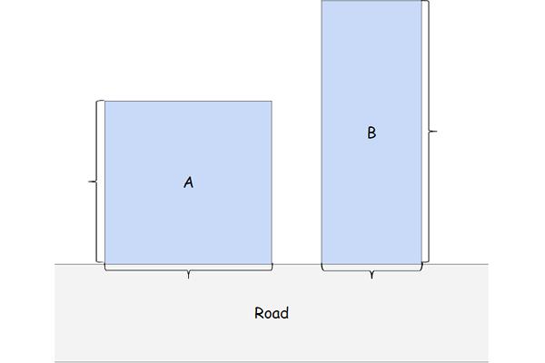 正方形の土地と長方形の土地のイラスト